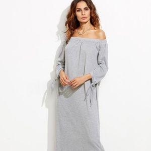 Bardot Tie Sleeve Slit Maxi Dress